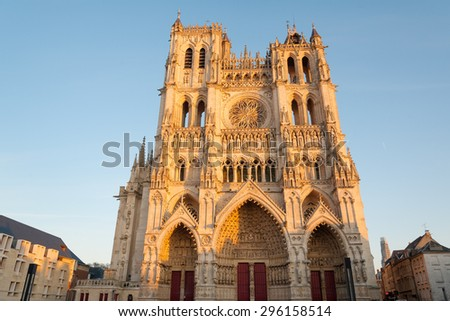 Famous Cathedral Basilica of Our Lady of Amiens, Picardy, France - stock photo