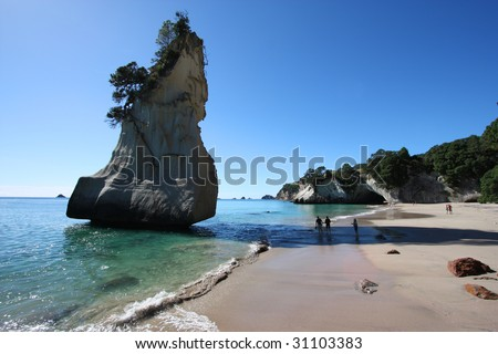 Famous Cathedral Cove at Coromandel peninsula. New Zealand, North Island. - stock photo