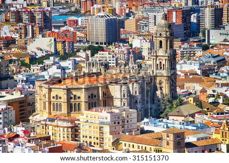 famous Cathedral of Malaga, Spain - stock photo
