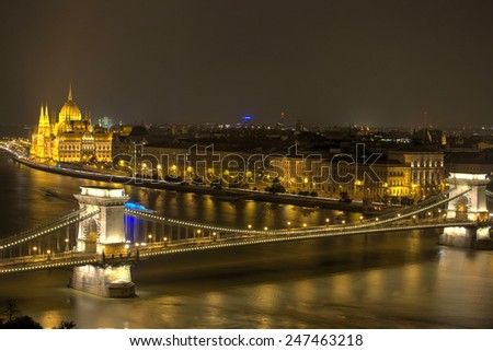 Famous Chain Bridge in Budapest at night, Hungary  - stock photo