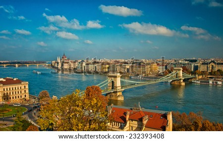 Famous Chain Bridge in Budapest, Hungary - stock photo