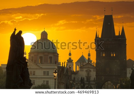 Famous Charles Bridge and tower, Prague, Czech Republic