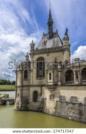 Famous Chateau de Chantilly (Chantilly Castle, 1560), is a historic chateau located in town of Chantilly, Oise, Picardie, France.