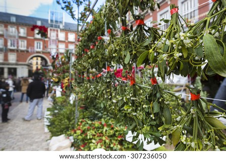 Famous Christmas market in Madrid, Spain. - stock photo