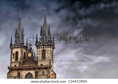Famous Church of our lady before Tyn in Prague, Czech Republic - stock photo