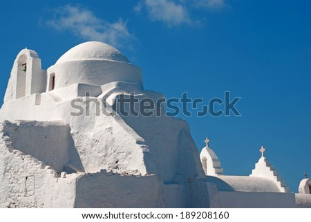 famous church paraportiani on  Mykonos island , Greece - stock photo