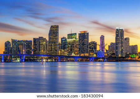 Famous cIty of Miami, Florida, summer sunset, USA - stock photo