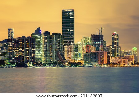 Famous cIty of Miami, Florida, USA, summer sunset