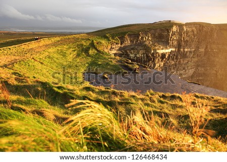 Famous cliffs of Moher at sunset in Co. Clare Ireland natural attraction