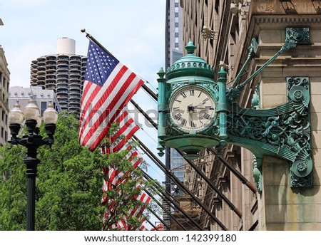 Famous clock in downtown Chicago - stock photo