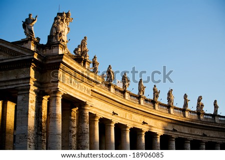 Famous colonnade of St. Peter's Basilica in Vatican, Rome, Italy - stock photo
