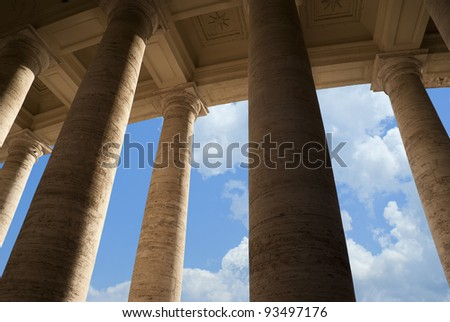 Famous colonnade of St. Peter's Basilica in Vatican, Rome, Italy