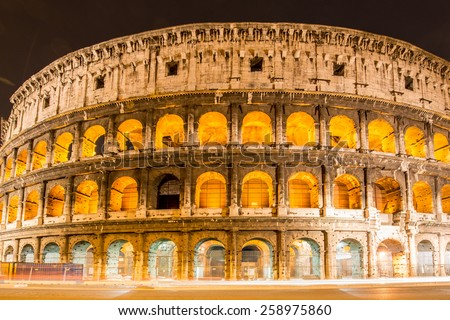 Famous colosseum during evening hours - stock photo