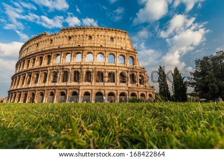 Famous Colosseum in Rome, Italy - stock photo