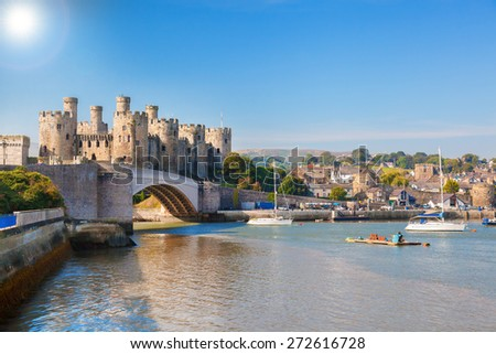 Famous Conwy Castle in Wales, United Kingdom, series of Walesh castles - stock photo