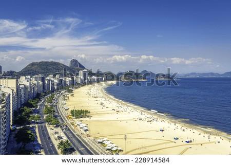 Famous Copacabana Beach in Rio de Janeiro, Brazil - stock photo