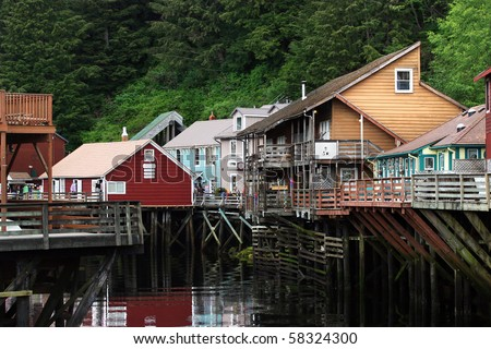 Famous Creek Street in Ketchikan, Alaska. - stock photo