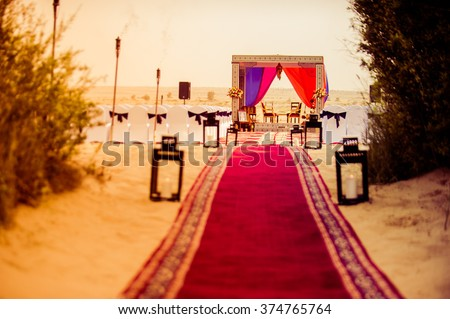 Famous destination wedding place in Dubai desert - stock photo
