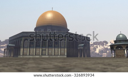 Famous Dome of the Rock in Jerusalem. 3D rendering - stock photo