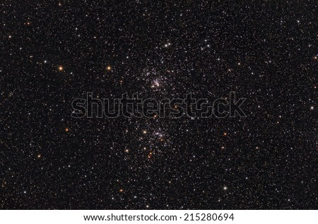 Famous double cluster in the Milky Way as seen from a northern hemisphere.  - stock photo