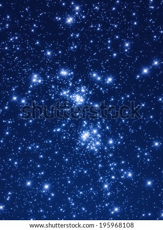 Famous double cluster on a northern starry hemisphere.  - stock photo