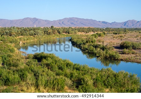 Famous Draa river in Morocco