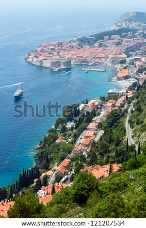 Famous Dubrovnik Old Town summer  view from up  (Croatia) - stock photo