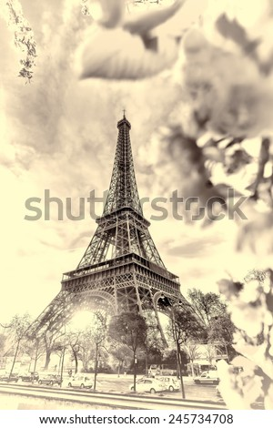Famous Eiffel Tower with spring tree in Paris, France - stock photo