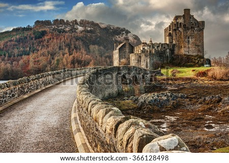 Famous Eilean Donan Castle, Scotland - stock photo