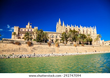 famous ensemble of Palma Cathedral and the Almudaina Palace, Majorca, Spain - stock photo