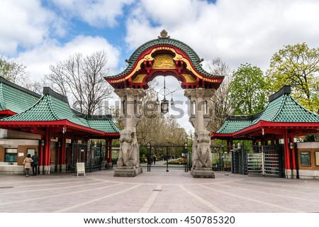 Famous entrance at Zoological garden. Zoo is oldest garden (1844, 35 hectares) in Germany with most comprehensive collection of species in world. Elephant Gate. - stock photo