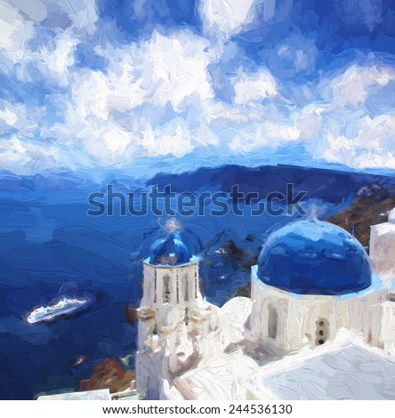 Famous Fira town in Santorini island, Greece, ART STYLE, Oil painting - stock photo