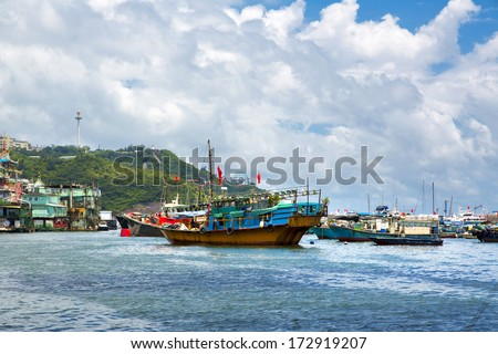 Famous floating village in Aberdeen is an area and town on the south shore of Hong Kong Island on July 2  2013 in Hong Kong.
