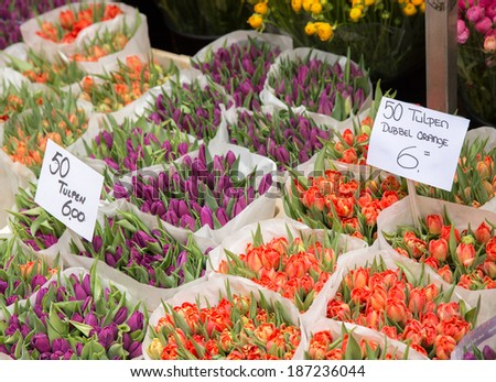 Famous flower market in the Netherlands Amsterdam - stock photo