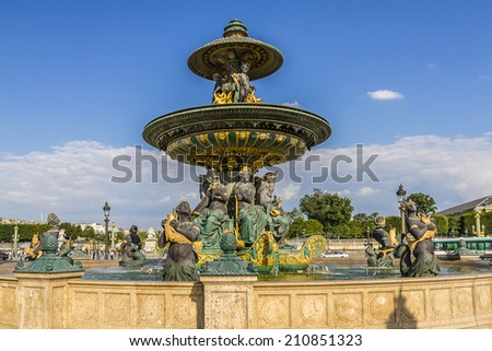 Famous Fountain of River Commerce and Navigation at sunset - one of the two Fountains de la Concorde (1840) on the Place de la Concorde. Paris, France.