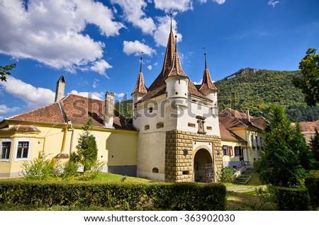 Famous gate in Brasov town - Romania - stock photo