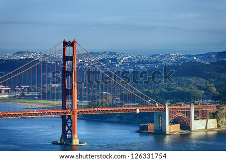 famous Golden Gate Bridge and downtown San Francisco - stock photo