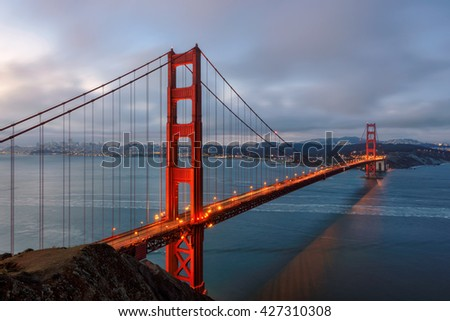 Famous Golden Gate Bridge in San Francisco at morning - stock photo