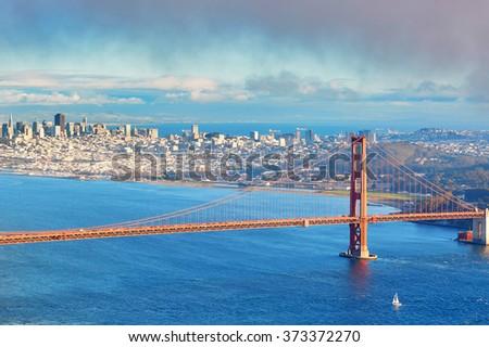 Famous Golden Gate bridge in San Francisco, California, USA - stock photo