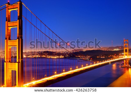 Famous Golden Gate bridge in San Francisco, California, USA  - stock photo