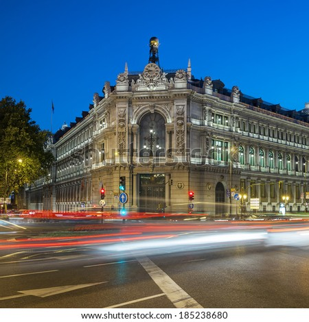 Famous Gran via street in Madrid, Spain at night  - stock photo
