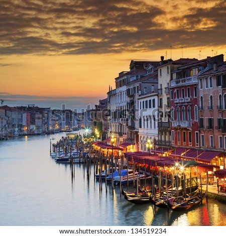 Famous Grand Canal at sunset, Venice - stock photo