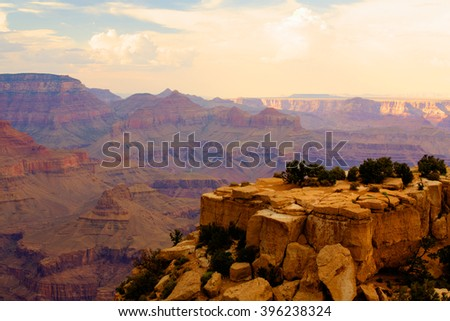 Famous Grand Canyon at sunset - HDR Image - stock photo