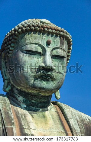 Famous great buddha (Daibutsu) sculpture of Kamakura city.