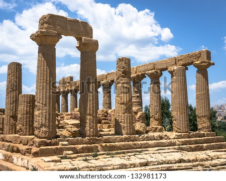 famous greek temple at agrigent - sicilia - italy