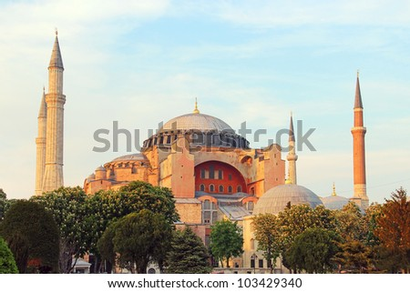 Famous Hagia Sophia in the evening, Istanbul, Turkey - stock photo