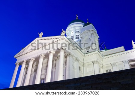 Famous Helsinki Cathedral taken from low-angle at twilight