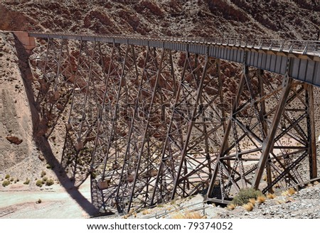 "Famous high altitude Train to the Clouds, ""Viaduct La Polvorilla"", Salta, Argentina - stock photo"