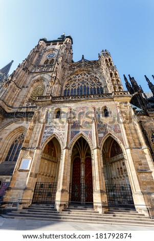 famous historic st. vitus cathedral in prague czech republic