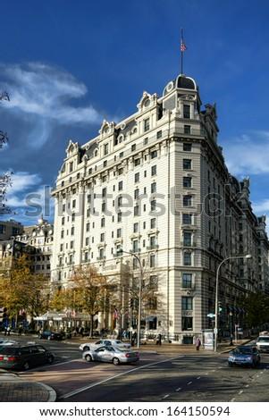 Famous historic Willard Hotel beaux arts style landmark on Pennsylvania avenue in the United States nation capital of Washington DC - stock photo